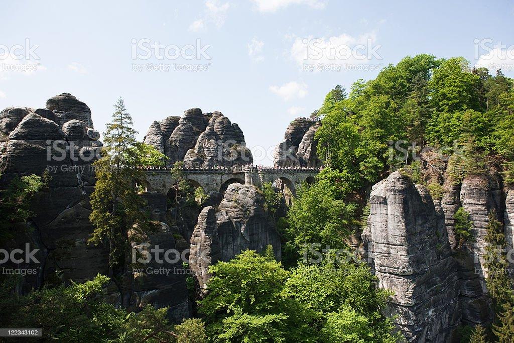 Bastei Rocks, Saxon Switzerland, Dresden, Germany stock photo
