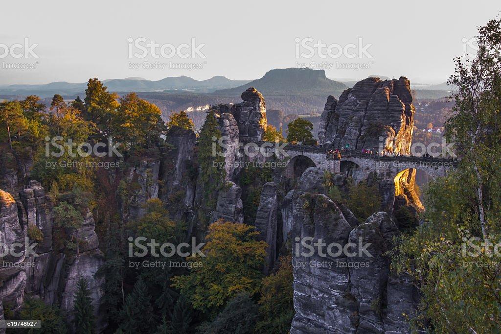 Basteibrücke und Lilienstein in der Sächsische Schweiz stock photo