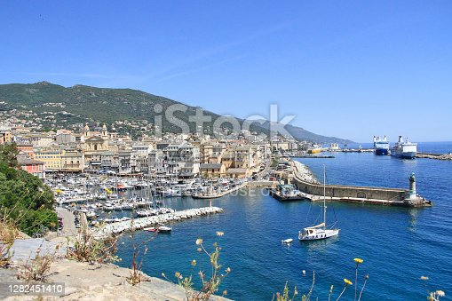 Bastia, Corsica, France - June, 02, 2019: The old port (the Vieux Port), in Bastia, Corsica, France.
