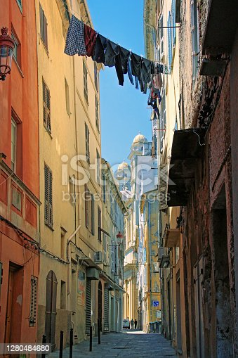 Narrow streets and colorfull houses in the city of Bastia, Corsica Island, France