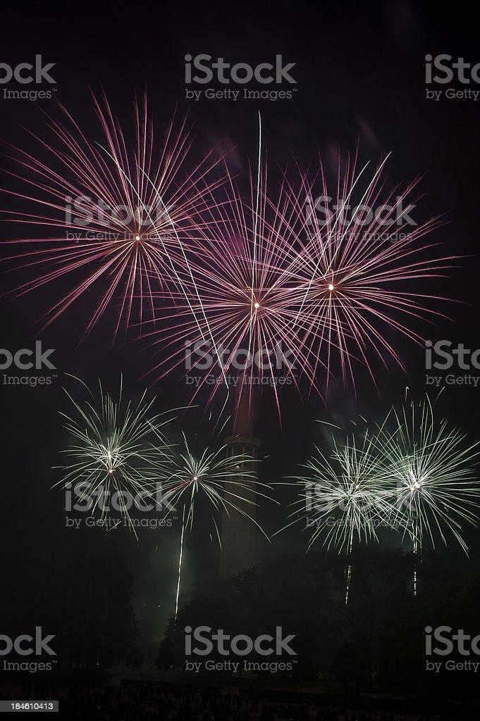 Bastilleday fireworks stock photo