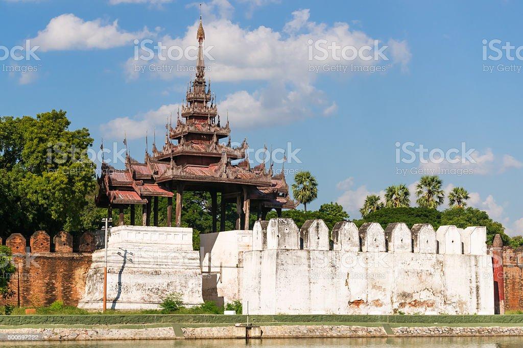 Bastion of Mandalay Palace Walls stock photo