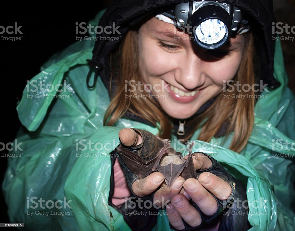 Bat in woman-potholer's hands royalty-free stock photo