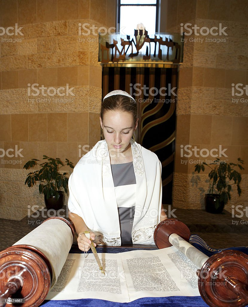 Bat Mitzvah Girl Reading the Torah stock photo