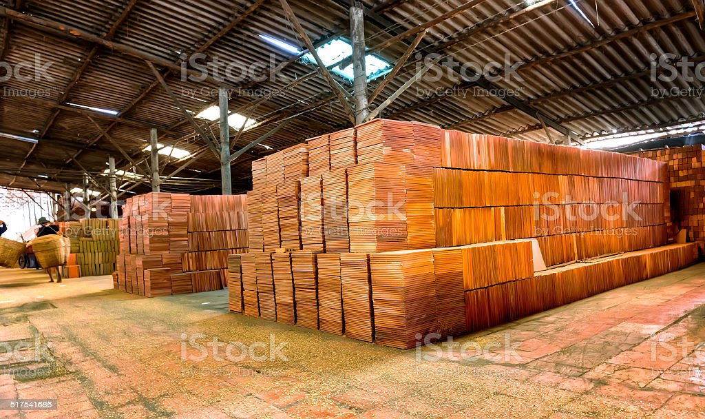 Bat Trang bricks in a brick kiln stock photo
