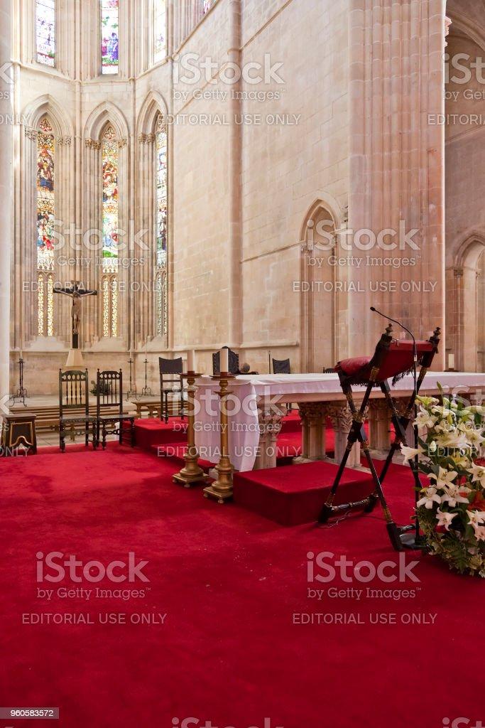 Batalha Monastery. Altar and Apse of the Church. stock photo