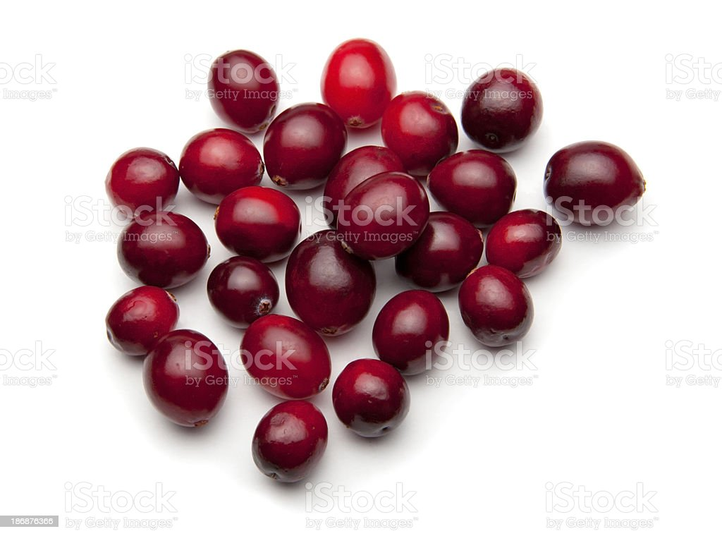 Batch of cranberries on white stock photo