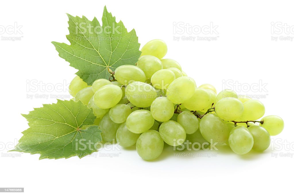 A batch of green grapes on a white background royalty-free stock photo