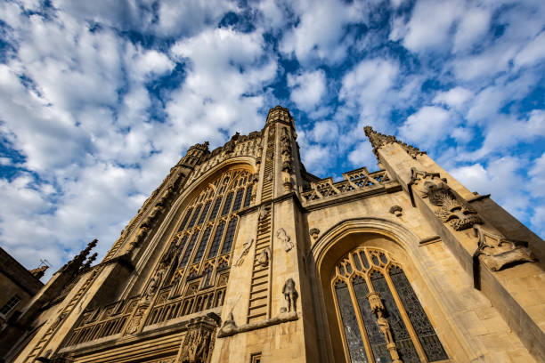 Bath Abbey and Sky Shot of bath abbey, UK bath abbey stock pictures, royalty-free photos & images