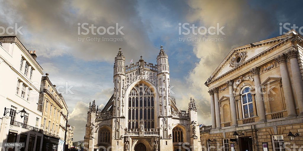 Bath Abbey church and the Roman baths stock photo