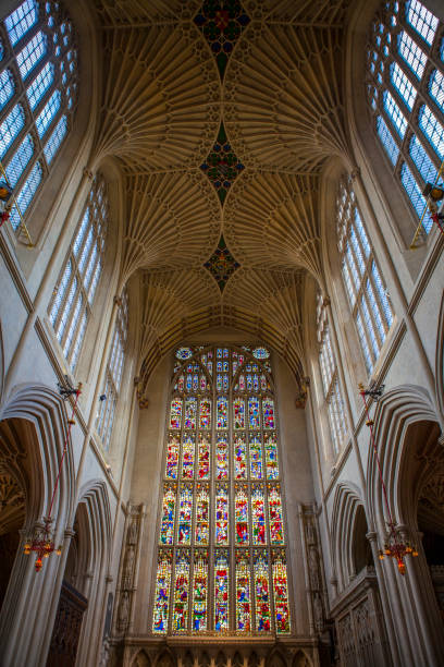 Bath Abbey in Somerset Bath, UK - August 10th 2013: The interior of the historic Bath Abbey in the city of Bath, UK. bath abbey stock pictures, royalty-free photos & images