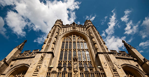 Bath abbey Bath abbey with blue sky and clouds above bath abbey stock pictures, royalty-free photos & images