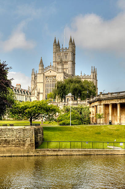 Bath Abbey, Somerset auf den Fluss – Foto