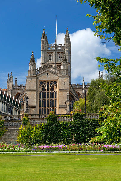 Bath Abbey, Somerset, England cathedral and historic Bath Abbey, city of Bath, Somerset, England bath abbey stock pictures, royalty-free photos & images