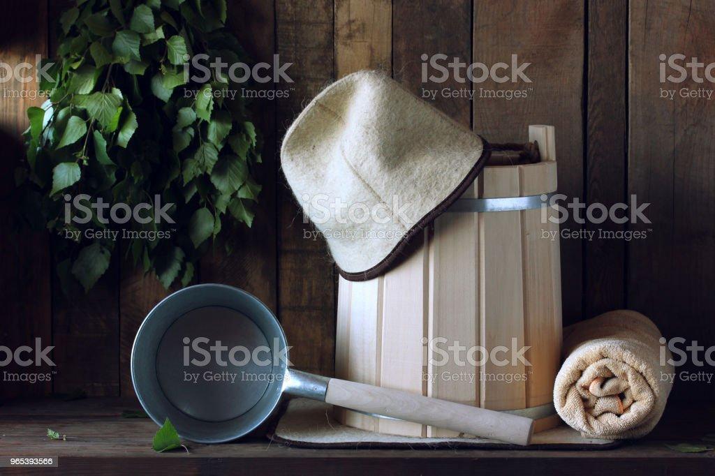 Accessoires de bain sauna russe traditionnelle. - Photo de Accessoire libre de droits