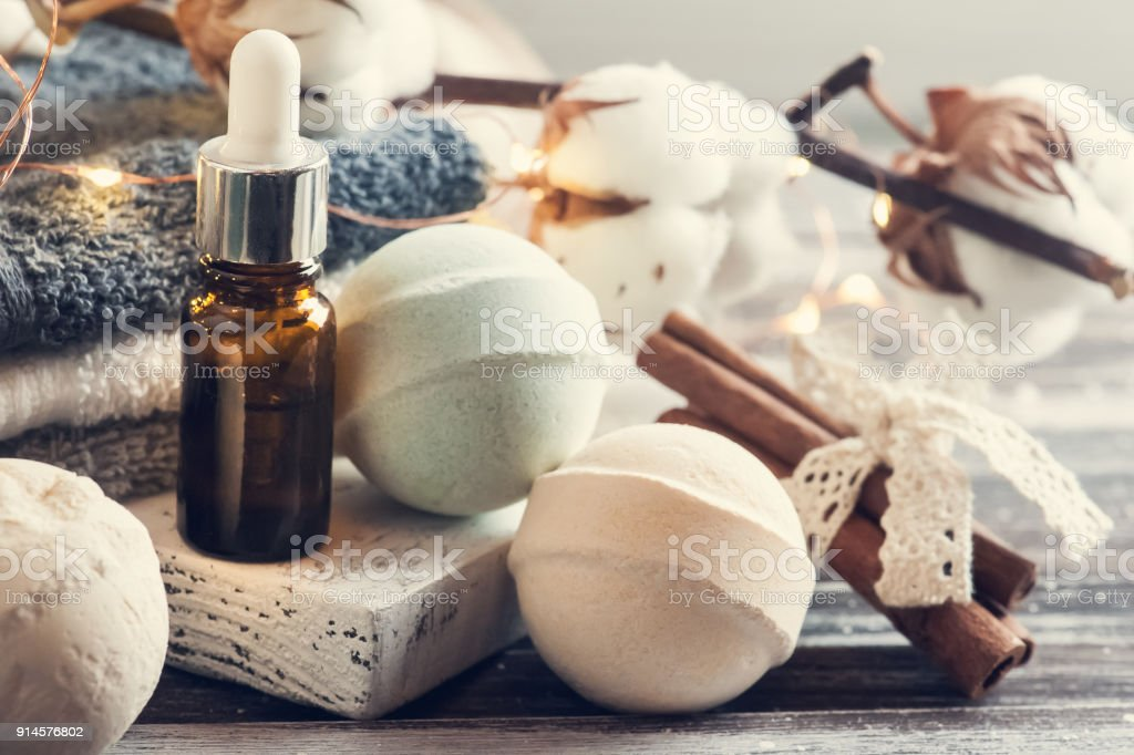 Bath accessories on rustic wooden table stock photo