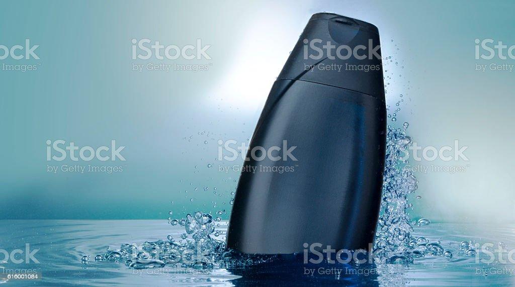 Bath accessory in water,shampoo stock photo