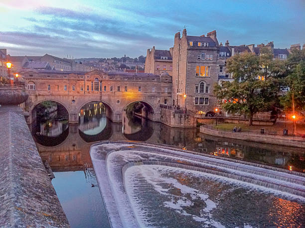 Bath at night View over Bath and Avon river bath england stock pictures, royalty-free photos & images