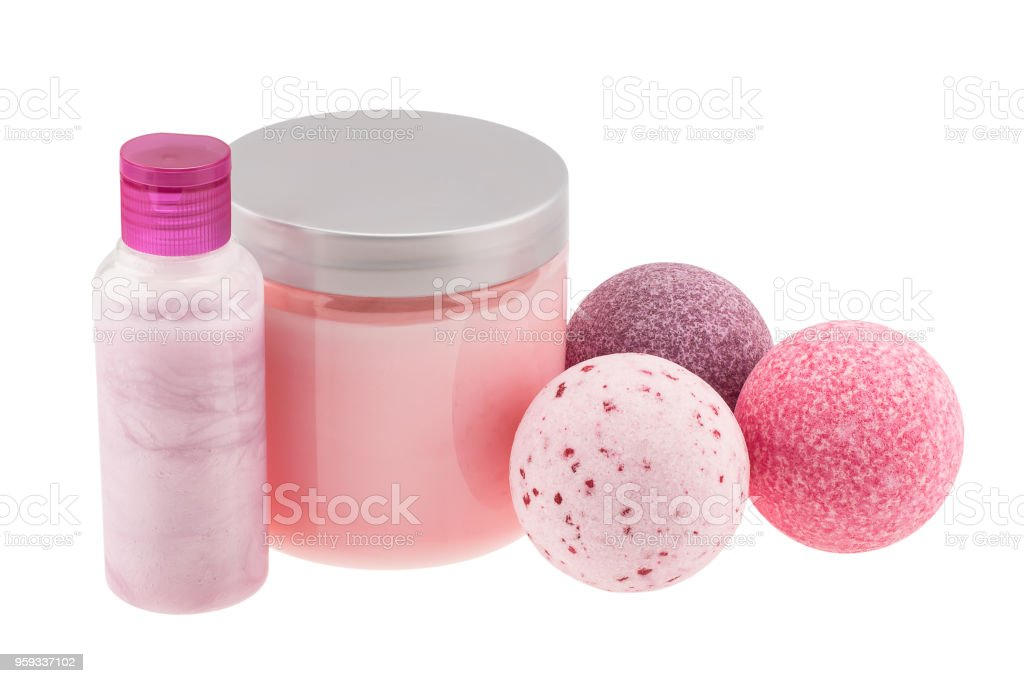 Bath balls and cosmetic bottles stock photo