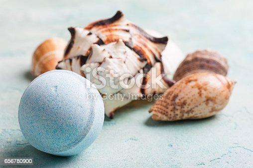 656780900istockphoto Bath bomb and seashells 656780900