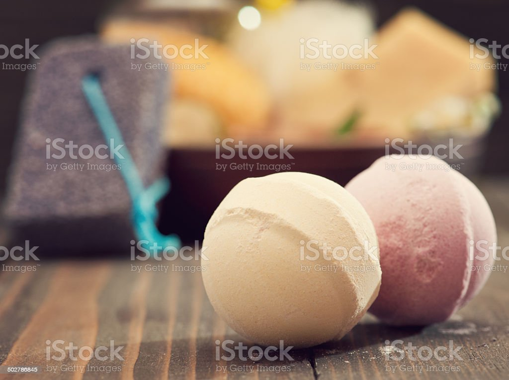 Bath bombs closeup with spa products on background stock photo
