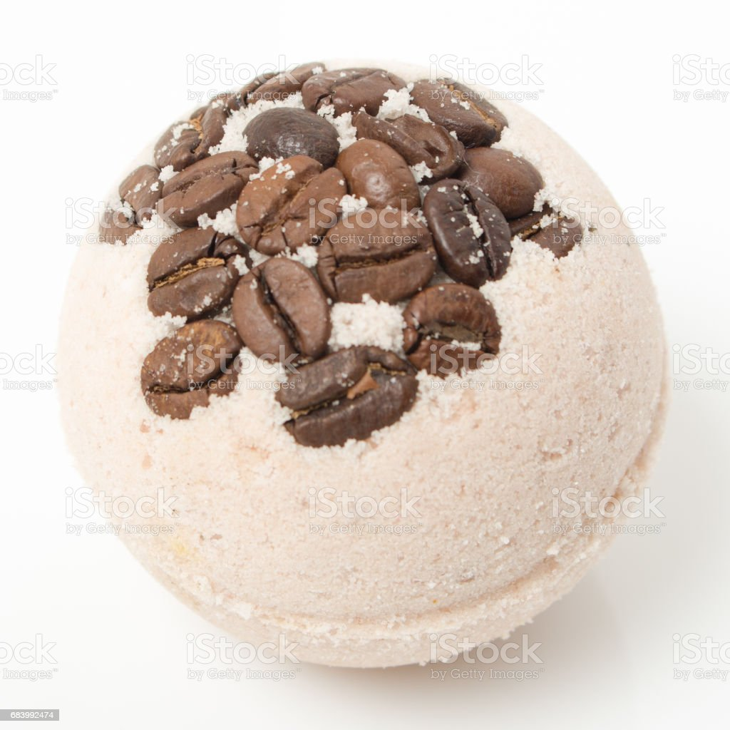 Bath bombs with coffee grains on a white stock photo