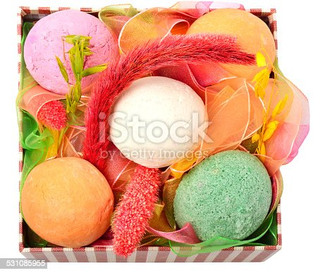 656780900istockphoto Bath bombs with decor in the box 531085955