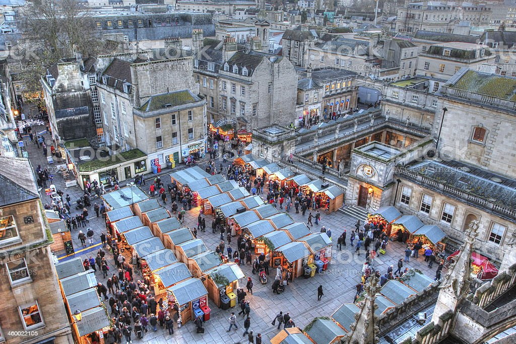 Bath Christmas Market and Roman Baths Taken from Bath Abbey, this image features the Bath Christmas Market and the Roman Baths late on a December afternoon. Bath - England Stock Photo