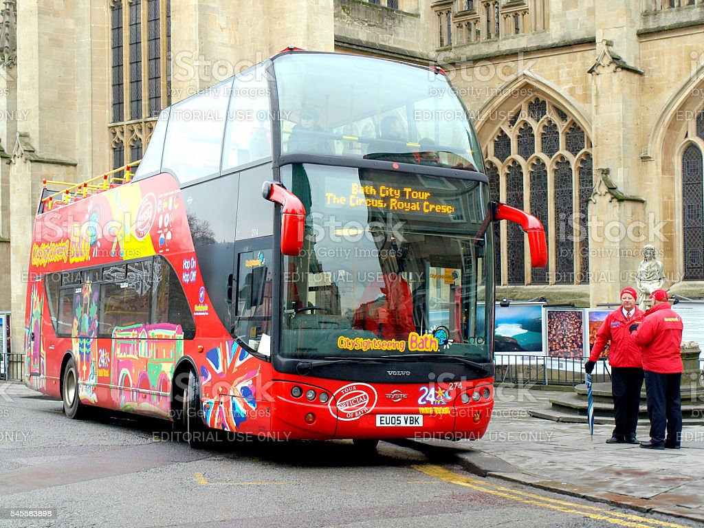 Bath city tour bus. stock photo