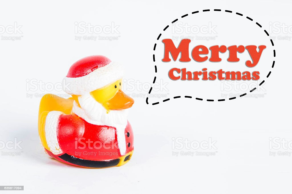 bath duck with callout symbol and message  'merry christmas' stock photo