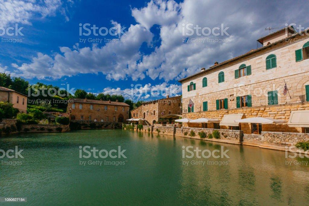 Bath in Bagno Vignoni, Tuscany, Italy stock photo