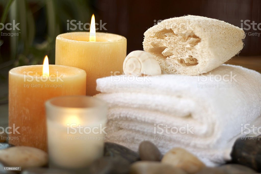 bath items in relaxing setting royalty-free stock photo