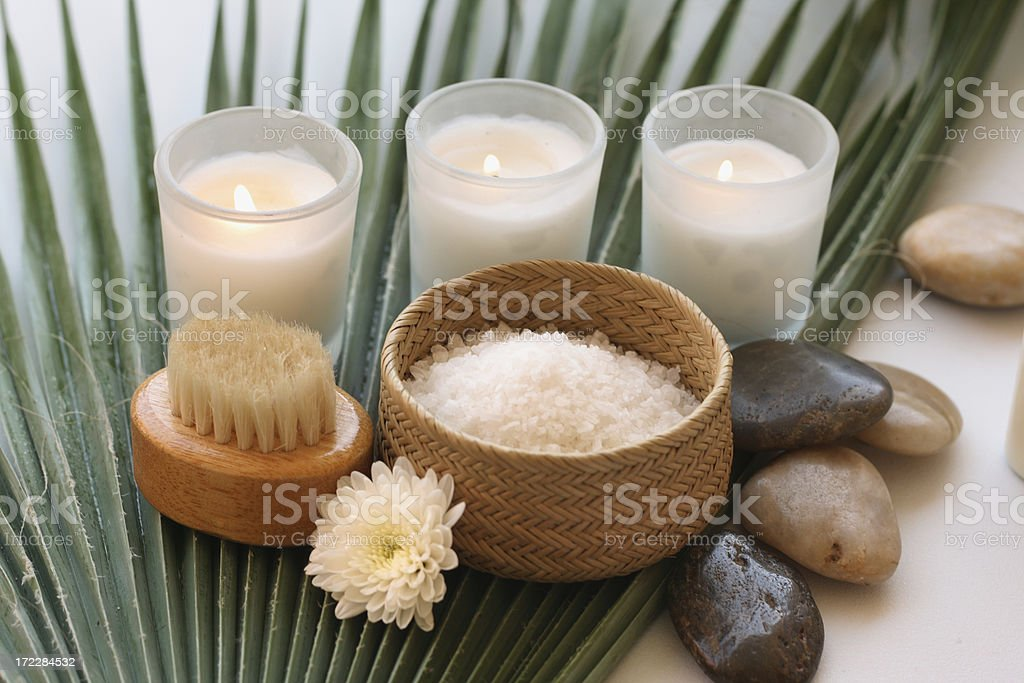 bath items on palm leaf royalty-free stock photo
