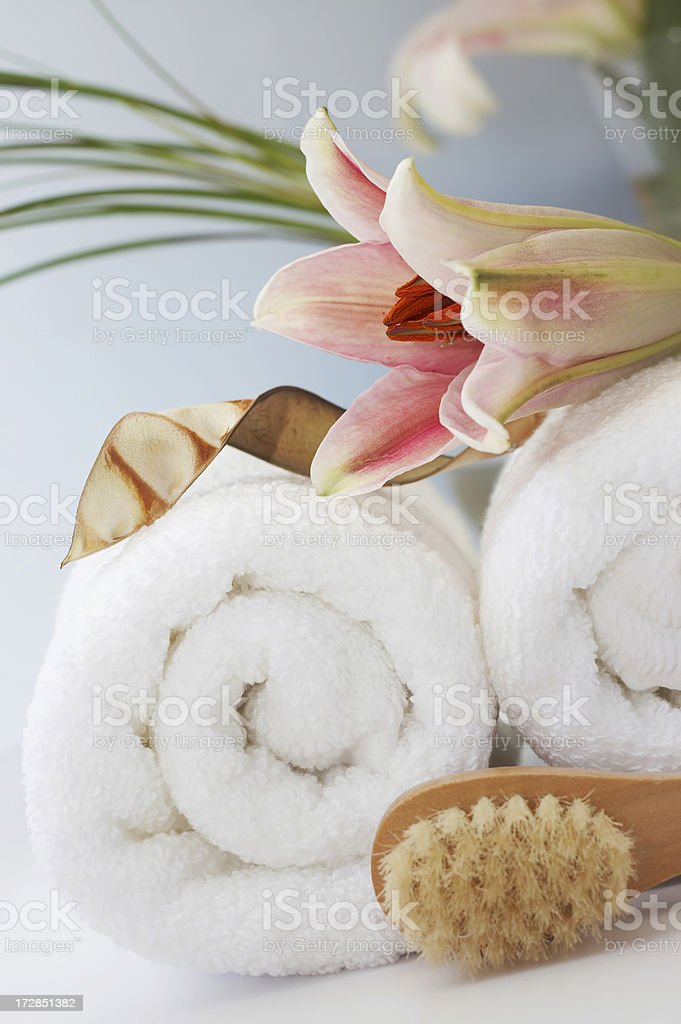 bath items with lilly royalty-free stock photo