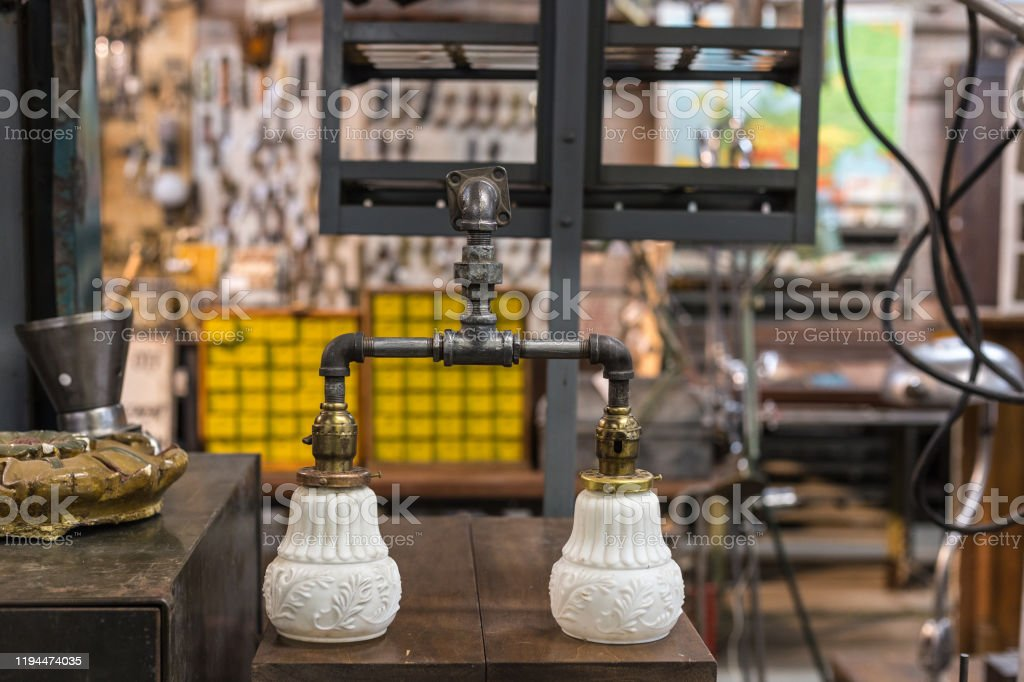 Bath Light Fixture Made From Industrial Metal Pipes With Vintage Ceramic Light Covers Stock Photo Download Image Now Istock