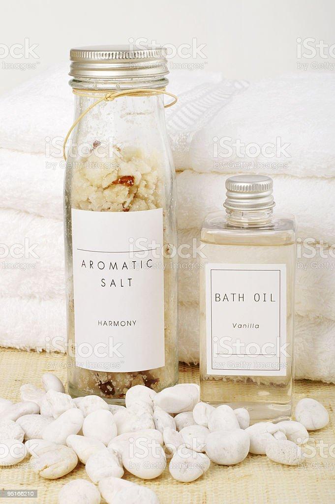 Bath oil and aromatic salt royalty-free stock photo