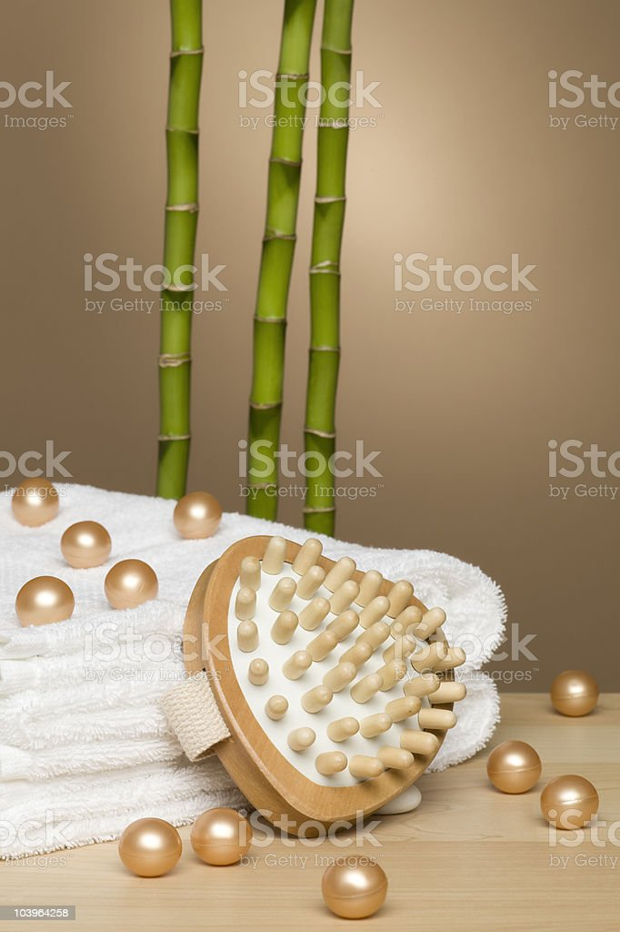 Bath pearls with bamboo stock photo