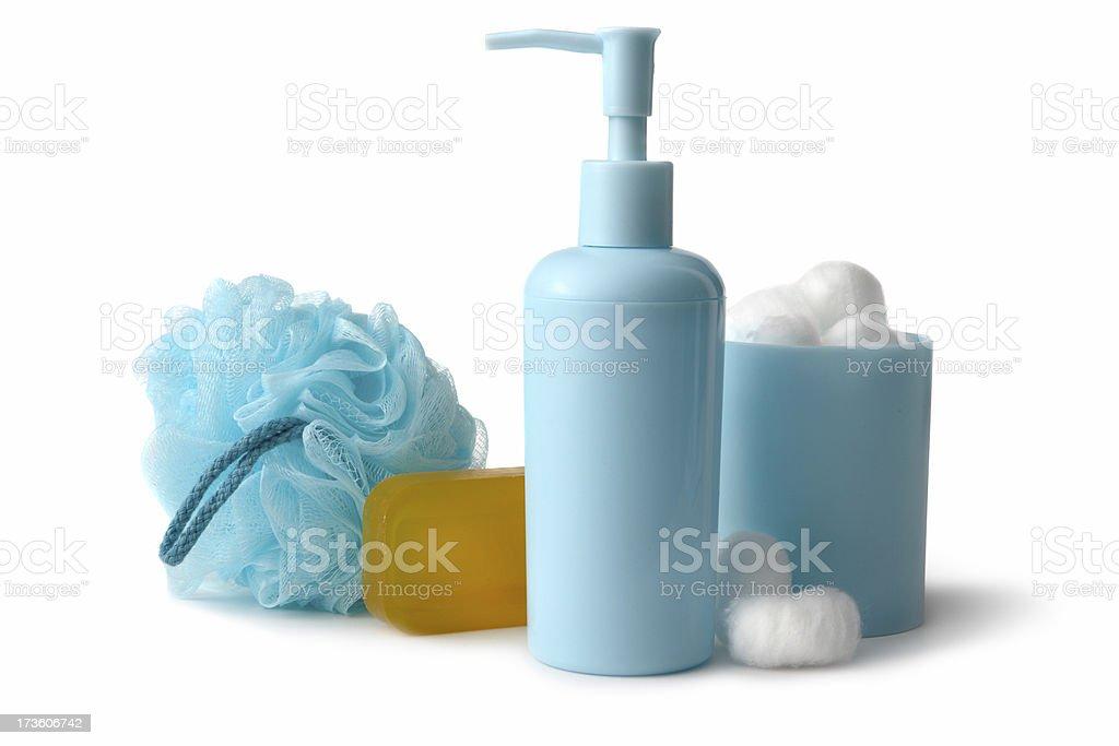 Bath: Pump Bottle, Cotton Balls, Soap and Sponge stock photo