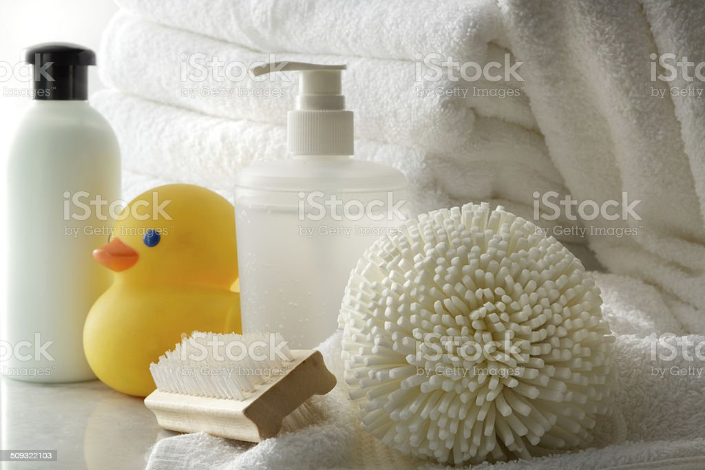 Bath: Rubber Duck, Liquid Soap and Bathsponge Still Life stock photo