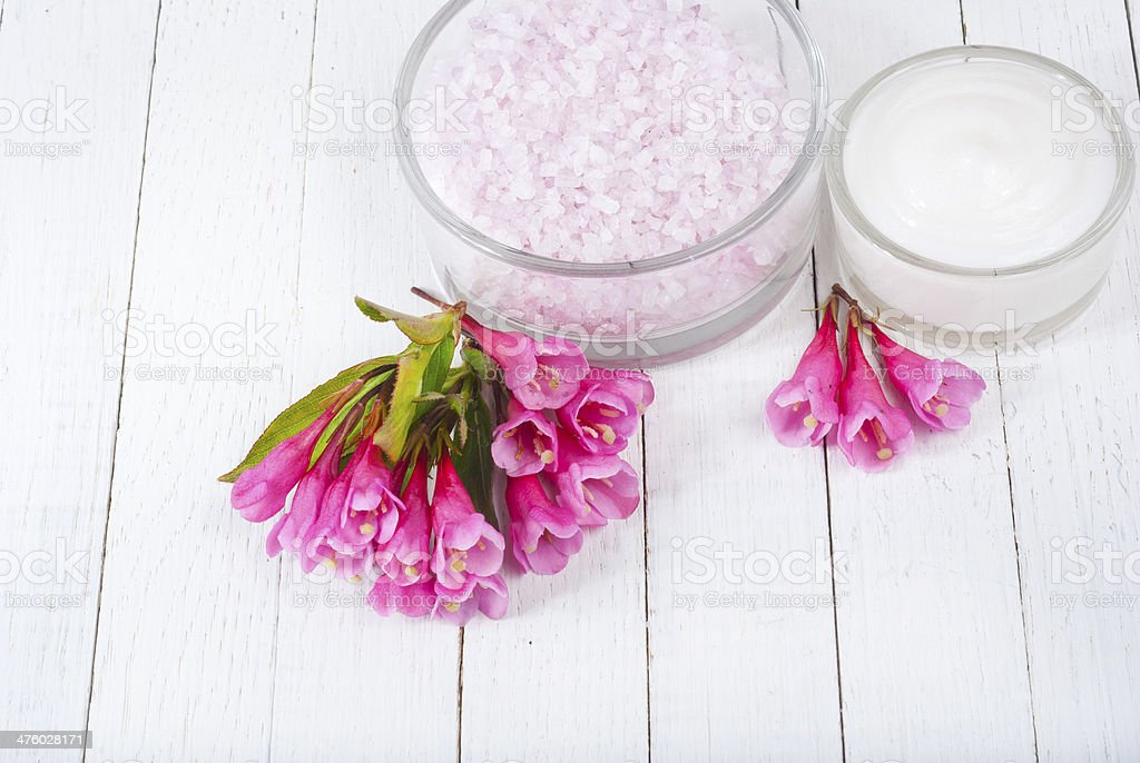 Bath salt and cream royalty-free stock photo