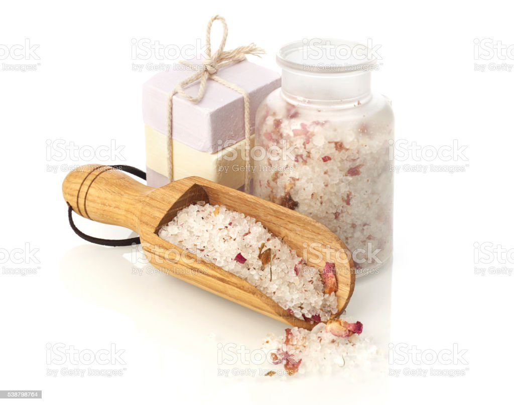 Bath salt and soap stock photo
