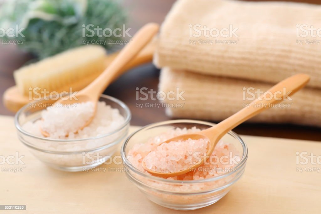 Bath salt in a glass container stock photo