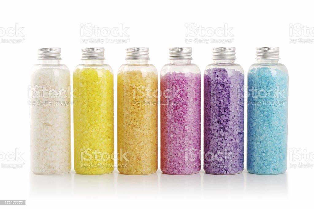 Bath salt in many colors stock photo