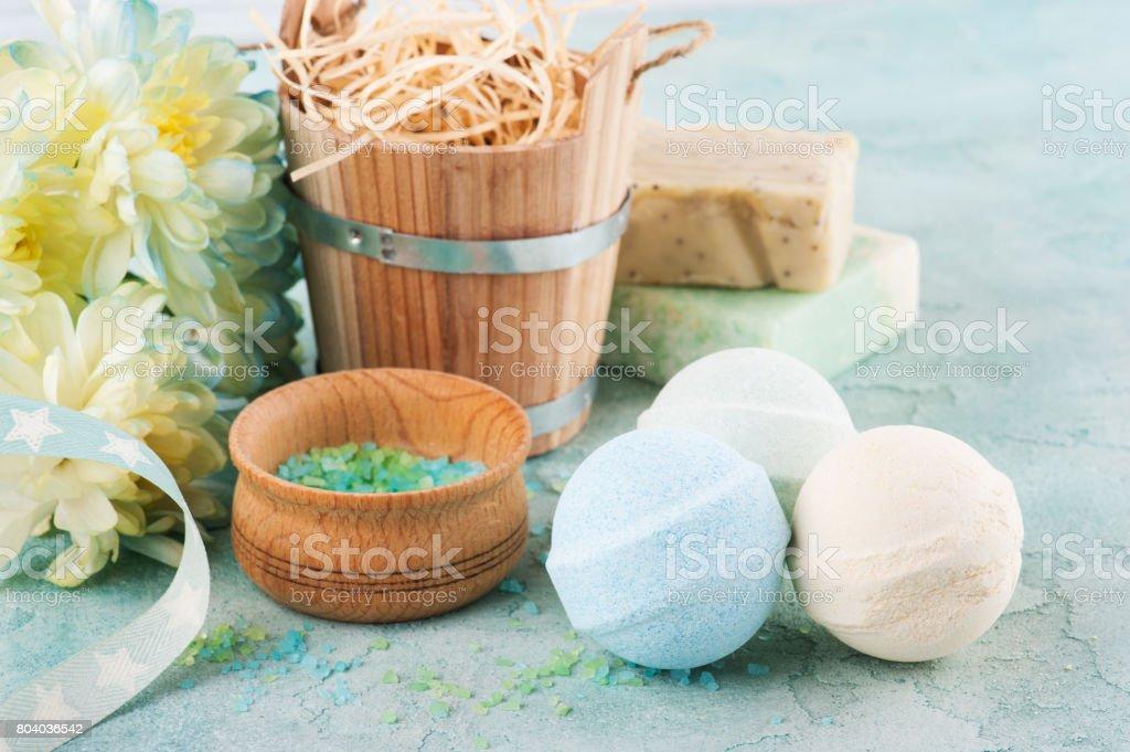 Bath salt on blue concrete background stock photo
