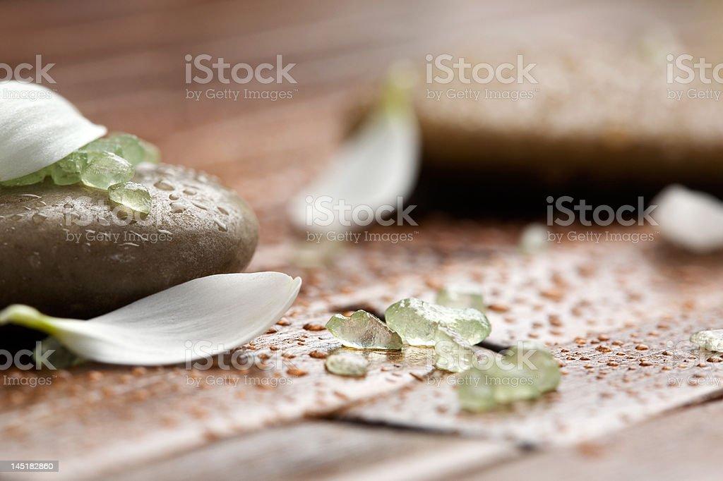 Bath salt on spa stones royalty-free stock photo