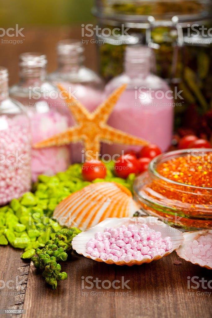 Bath salt - spa supplies royalty-free stock photo