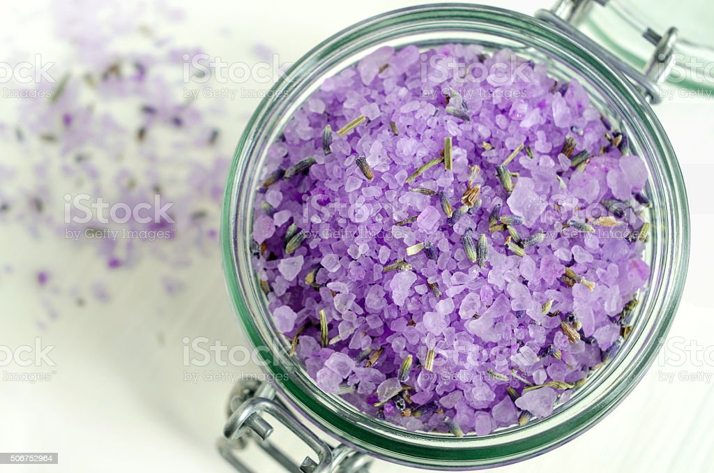 Bath salt with lavender extract and dried lavender stock photo