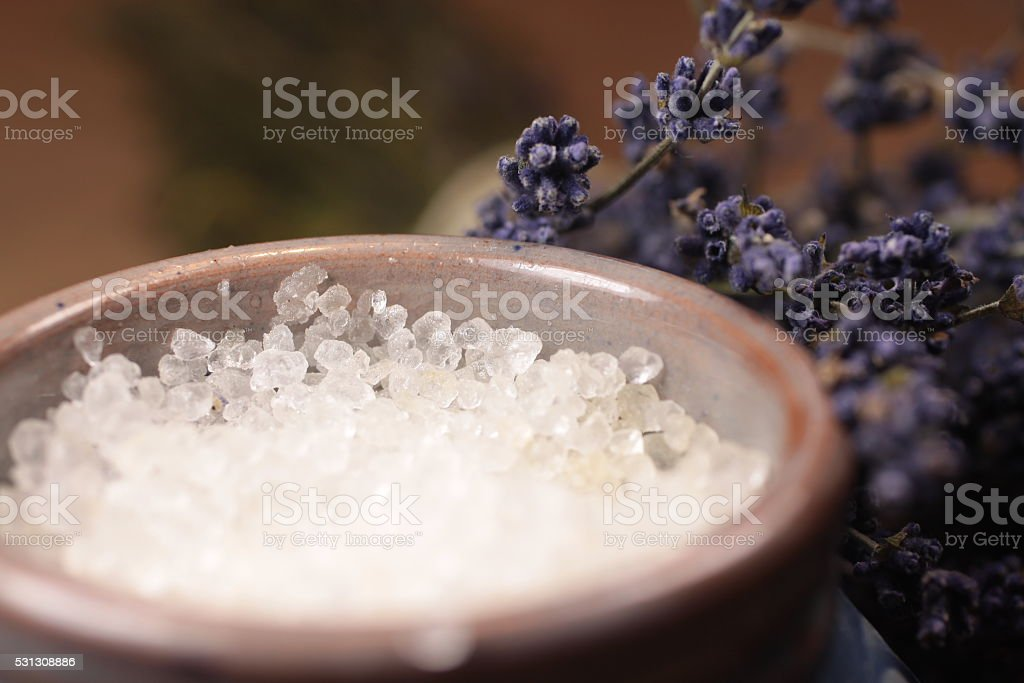 Bath salt with lavender stock photo
