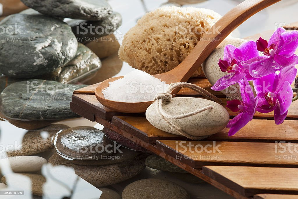 Bath salts in a natural setting stock photo