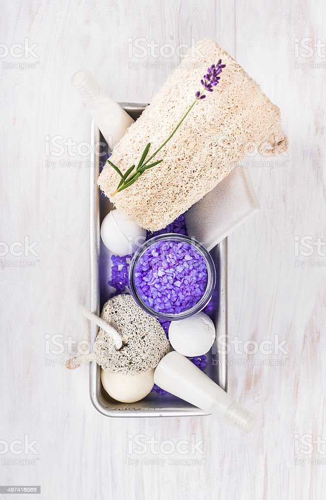 bath set with lavender, in metal box on white wooden stock photo